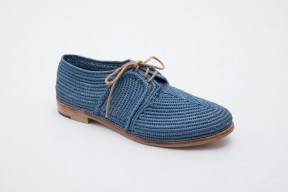 Product photo of Raphia shoe Stura Leather Sole in the color Ocean Blue