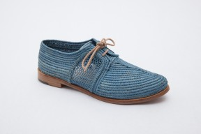 Product photo of Raphia shoe Chebka Leather Sole in the color Ocean Blue