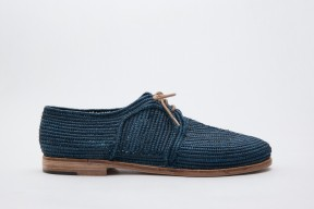 Product photo of Raphia shoe Stura Leather Sole in the color Marine Blue