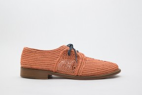 Product photo of Raphia shoe Chebka Leather Sole in the color Salmon