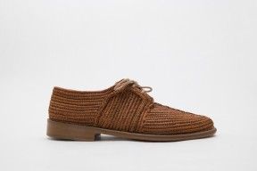Product photo of Raphia shoe Stura Leather Sole in the color Cuba brown
