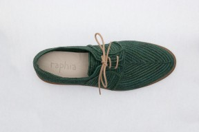 Product photo of Raphia shoe Stura Leather Sole in the color Olive Green