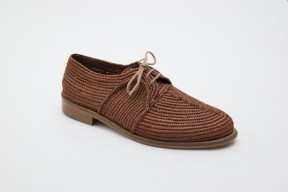 Product photo of Raphia shoe, Stura Leather Sole in the color Cuba Brown